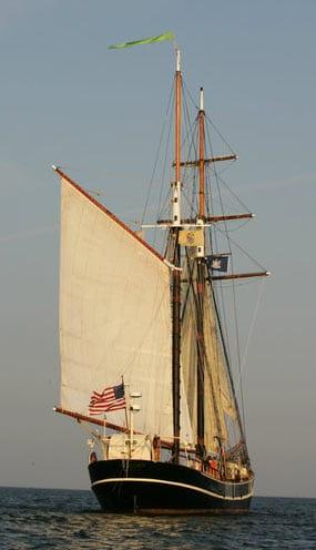 The tall ship Unicorn under sail.