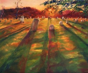 """Grim Charm. The goal with this piece is to (briefly) alter your perception of what a graveyard can be - namely, a beautiful and inviting scene far removed from the dark and haunting. This painting is also part of """"The Vibrant Eastern Canadian Landscape series""""."""