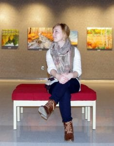 """Vanessa Pesch at Galerie ARTcadienne during her solo exhibit of the landscape series, """"The Vibrant Eastern Canadian Landscape""""."""