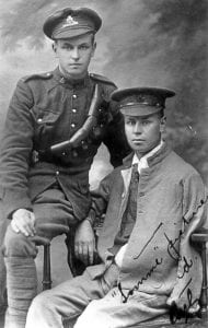 Carl Heckbert visiting with his wounded brother Fred, who lost his left forearm at Courcelette.