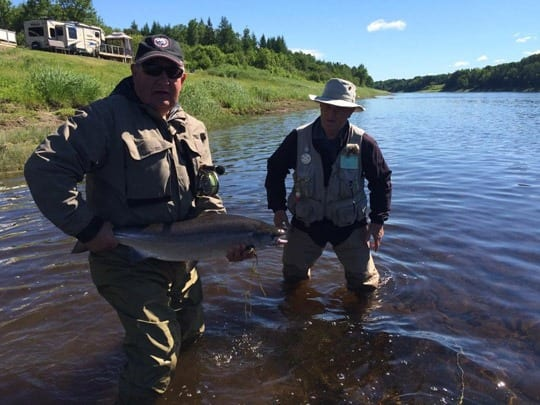 Allan Moore with a beauty June salmon at Mountain Channel Salmon Club