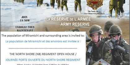 North Shore (NB) Regiment Open House Sunday October 23rd