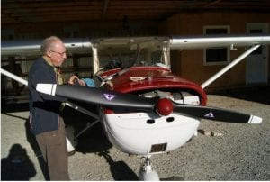 Bob Matthews checking out his Cessna.
