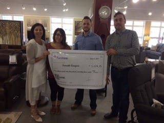 Gisele Comeau (Fairstone Branch Manager), Sarah Cooper (Winner), Perry Deveaux (Salesperson) and Michael Landry (Store Manager)