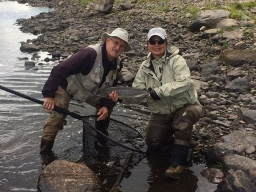 Head Guide at Mt Channel Wes Curtis and guest Trudy Cox with a fresh grilse Caught on Friday.