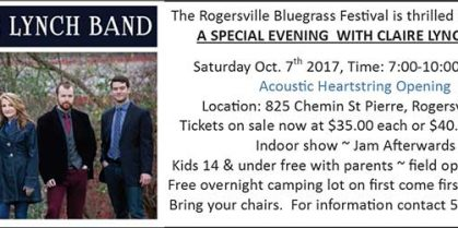 Rogersville Bluegrass Proudly Presents Bluegrass Grammy Nominee Claire Lynch And Her Band!