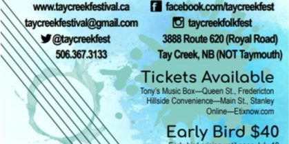 Tay Creek Folk Festival – July 20th to 22nd, 2018