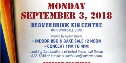 Miramichi Community [Newcastle] Food Bank Labour Day Fundraiser – Concert, BBQ and Bake Sale