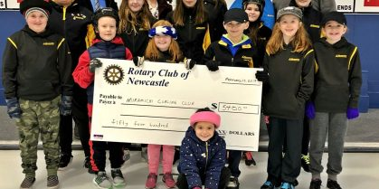 Rotary Club of Newcastle Donates to the Miramichi Curling Club