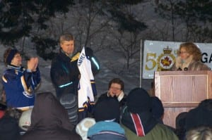 Prime Minister Stephen Harper at the Pond Hockey tournament in 2009.