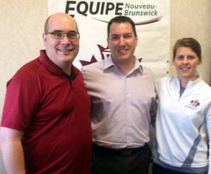 Jason Dickson, an Olympian and former major league baseball pitcher, has been named Team New Brunswick's honorary captain for the 2013 Canada Summer Games. From left: Stéphane Hachey, chef-de-mission; Dickson; and Jennifer Bent-Richard, assistant chef-de-mission.
