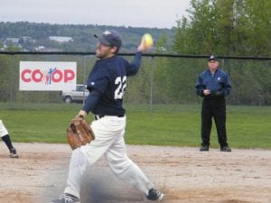 "Miramichi ""Jungle Jim"" Brewers' pitcher, Ashley Cosgrove."
