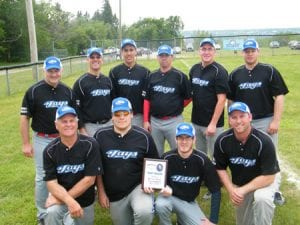 2013 Robert Blacquier Tournament Champions, The Richibucto Jays Front: Jim Arsenault, Thomas Arsenault, Travis Arsenault & Trevor Ryan Back: Al Roy, Jacques Richard, Travis Nevin, Chris Ryan, Justin Wellman & Jordan Young.