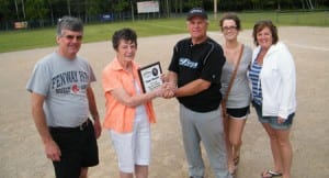 Jays Captain, Jim Arsenault receives the Championship Plaque from members of the Blacquier Family (Raymond & Eleanor Blacquier, Jenna & Sherri Lynn McKnight)