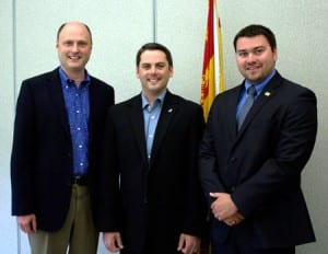 Tourism, Heritage and Culture Minister Trevor Holder, Southwest Miramichi MLA Jake Stewart and interim Mayor of Blackville Matthew Sturgeon.