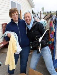 GBRC volunteers setting up a fundraising yard sale.