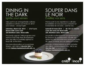 CNIB 3rd Annual Dining in the Dark in Miramichi