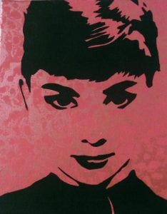 Audrey Hepburn Moon River (Acrylics, Flat and Metallic)