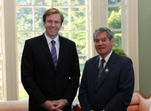 Premier-designate Brian Gallant, along with MLAs recommended for appointment to the executive council, will be officially sworn-in during a ceremony on Oct. 7. Gallant, left, who will become the 33rd Premier of New Brunswick, was formally invited to form government during a meeting with Lt.-Gov. Graydon Nicholas.