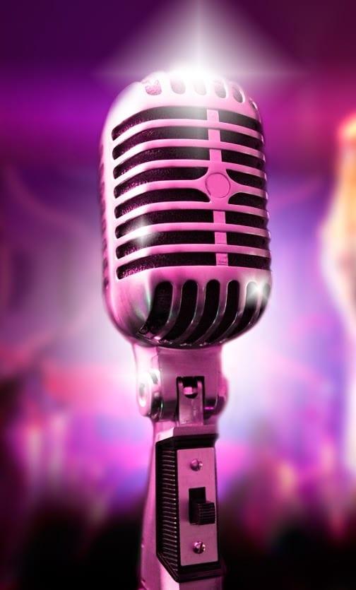 rock music vintage mic pink
