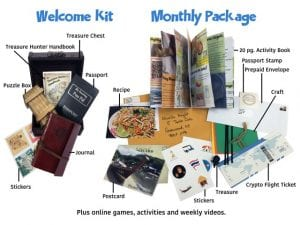 A picture of the items your child will receive in their Welcome Kit and Monthly Package.