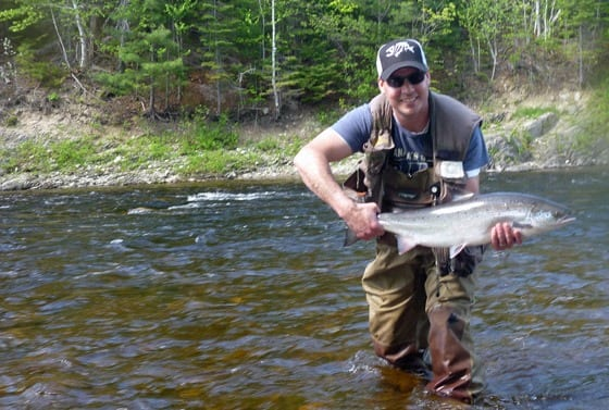 Jeff Morris with a nice 12 pound bright salmon on the Northwest last week