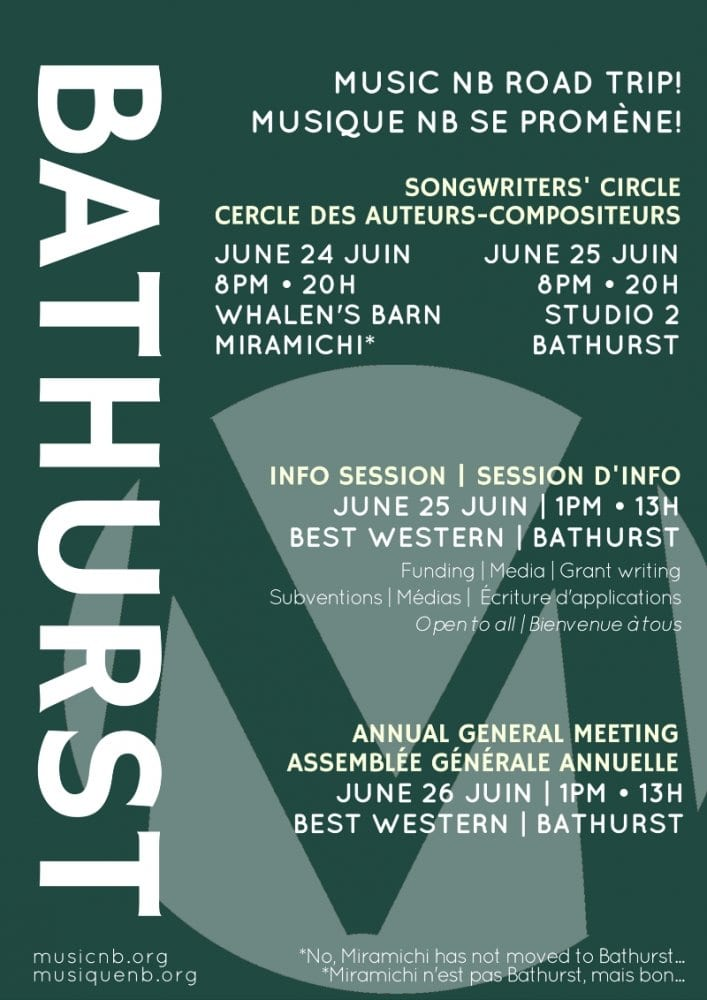 The city of Bathurst hosts the 2016 Music Musique NB AGM June 24th to 26th, 2016. The weekend includes two songwriters' circles, one taking place in Miramichi, a series of free information sessions about the music industry, and the Annual General Meeting (AGM).