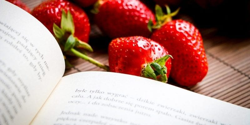 strawberries-and-book