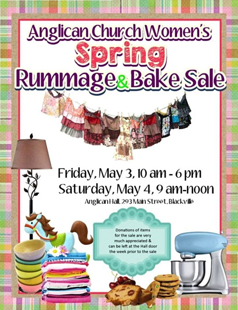 Annual Spring Rummage and Bake Sale in Blackville - Giver on the River