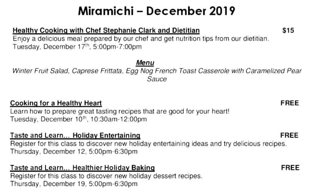 Nutrition Events for December 2019 at the Douglastown Sobeys